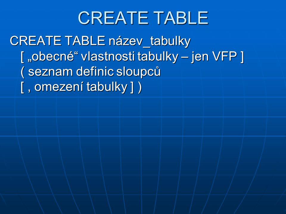 """CREATE TABLE CREATE TABLE název_tabulky [ """"obecné vlastnosti tabulky – jen VFP ] ( seznam definic sloupců [ , omezení tabulky ] )"""